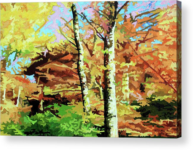 Autumn Acrylic Print featuring the painting Autumn's Spectacular Display by John Lautermilch