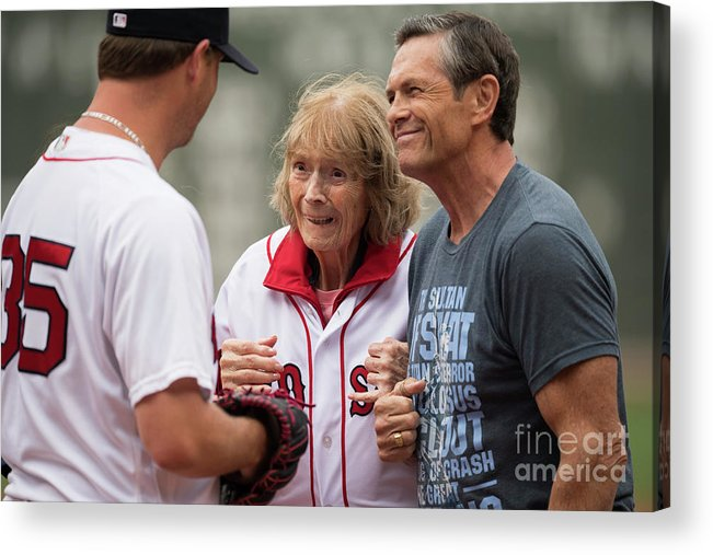 People Acrylic Print featuring the photograph Babe Ruth and Steven Wright by Michael Ivins/boston Red Sox