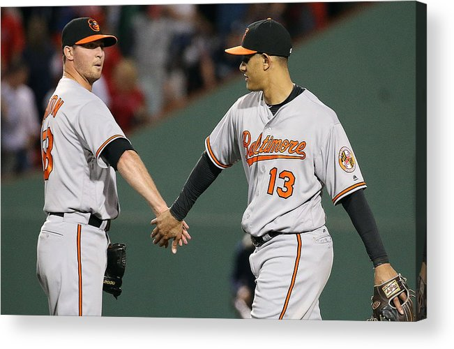 Three Quarter Length Acrylic Print featuring the photograph Baltimore Orioles v Boston Red Sox by Jim Rogash