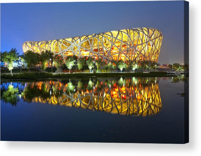 Chinese Culture Acrylic Print featuring the photograph Beijing Olympic statium at night by Tarzan9280