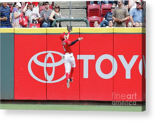 Great American Ball Park Acrylic Print featuring the photograph Ben Revere and Billy Hamilton by Kirk Irwin