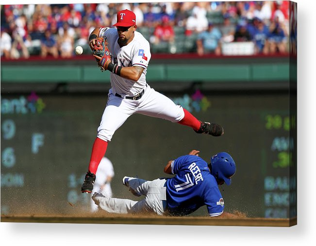 People Acrylic Print featuring the photograph Ben Revere and Rougned Odor by Ronald Martinez