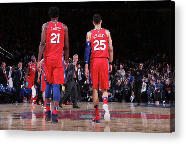Nba Pro Basketball Acrylic Print featuring the photograph Ben Simmons and Joel Embiid by Nathaniel S. Butler