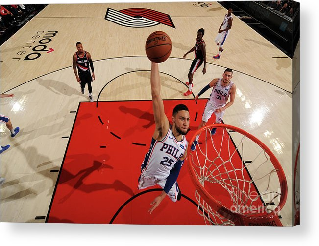 Nba Pro Basketball Acrylic Print featuring the photograph Ben Simmons by Cameron Browne