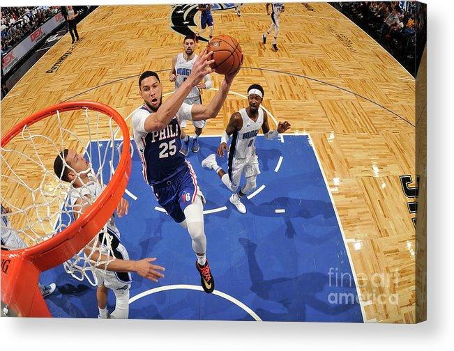 Nba Pro Basketball Acrylic Print featuring the photograph Ben Simmons by Fernando Medina