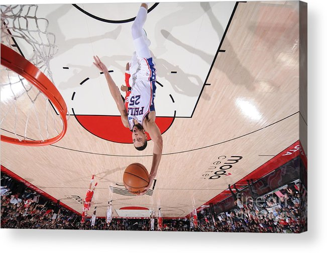 Nba Pro Basketball Acrylic Print featuring the photograph Ben Simmons by Sam Forencich