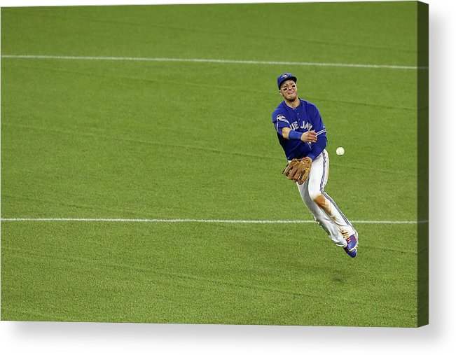 American League Baseball Acrylic Print featuring the photograph Ben Zobrist and Troy Tulowitzki by Vaughn Ridley