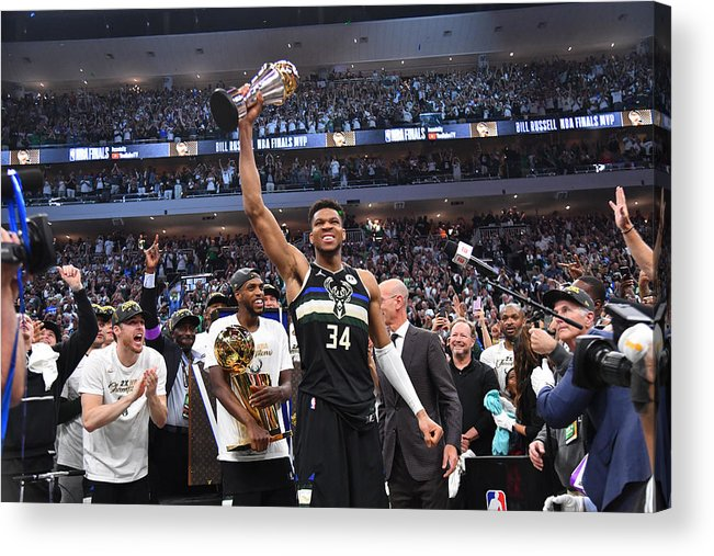 Playoffs Acrylic Print featuring the photograph Bill Russell and Giannis Antetokounmpo by Jesse D. Garrabrant