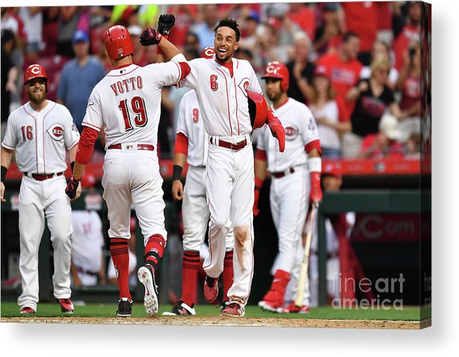 Great American Ball Park Acrylic Print featuring the photograph Billy Hamilton and Joey Votto by Jamie Sabau