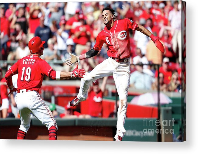 Great American Ball Park Acrylic Print featuring the photograph Billy Hamilton and Joey Votto by Kirk Irwin