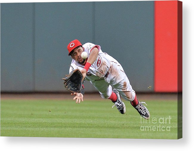 Great American Ball Park Acrylic Print featuring the photograph Billy Hamilton and Matt Adams by Jamie Sabau