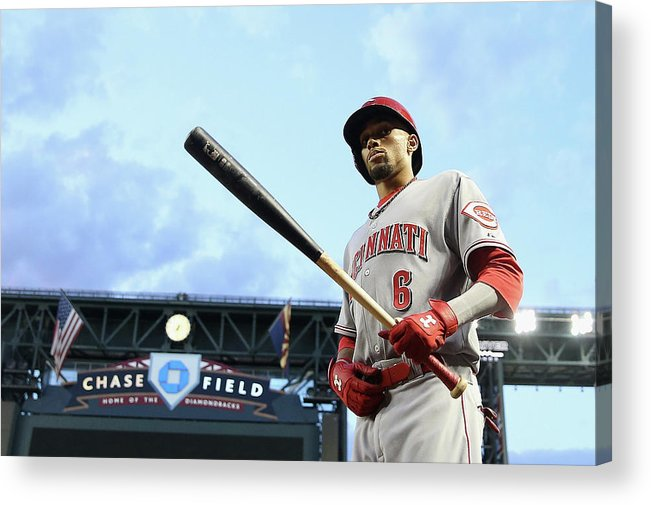 National League Baseball Acrylic Print featuring the photograph Billy Hamilton by Christian Petersen