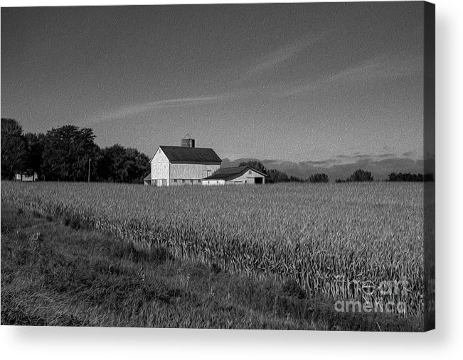 Black And White Acrylic Print featuring the photograph Black and White Farmstand by David Bearden
