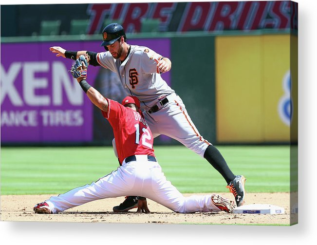 People Acrylic Print featuring the photograph Brandon Belt and Rougned Odor by Ronald Martinez