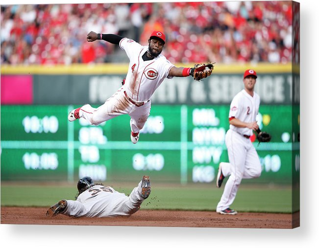Great American Ball Park Acrylic Print featuring the photograph Brandon Crawford and Brandon Phillips by Joe Robbins