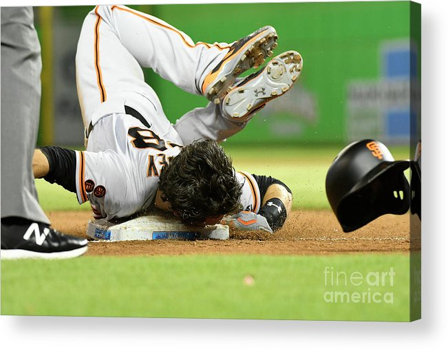 People Acrylic Print featuring the photograph Brandon Crawford and Buster Posey by Eric Espada