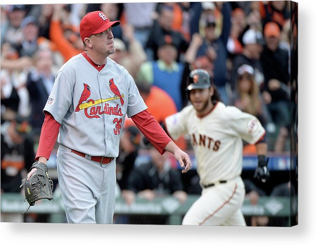 St. Louis Cardinals Acrylic Print featuring the photograph Brandon Crawford and Randy Choate by Harry How