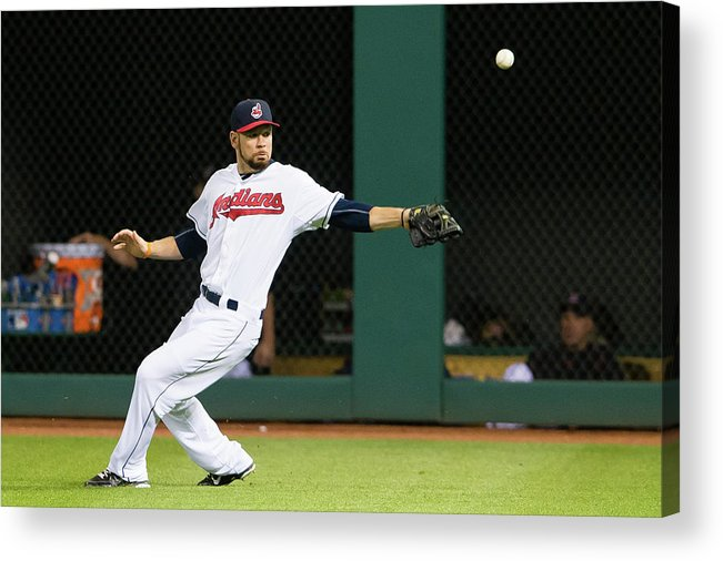 People Acrylic Print featuring the photograph Brandon Moss and Adam Jones by Jason Miller