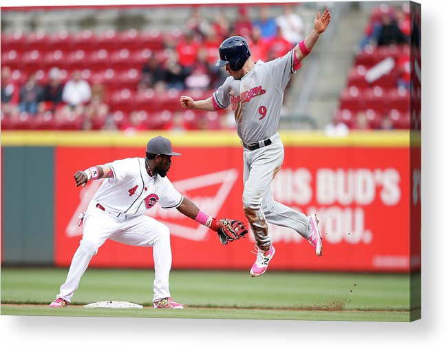 Great American Ball Park Acrylic Print featuring the photograph Brandon Phillips and Aaron Hill by Joe Robbins