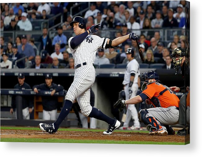 Championship Acrylic Print featuring the photograph Brett Gardner and Aaron Judge by Al Bello