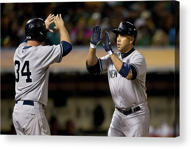 Brian Mccann Acrylic Print featuring the photograph Brian Mccann and Carlos Beltran by Jason O. Watson
