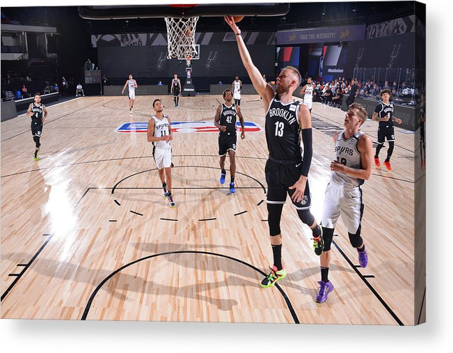 Nba Pro Basketball Acrylic Print featuring the photograph Brooklyn Nets v San Antonio Spurs by Jesse D. Garrabrant