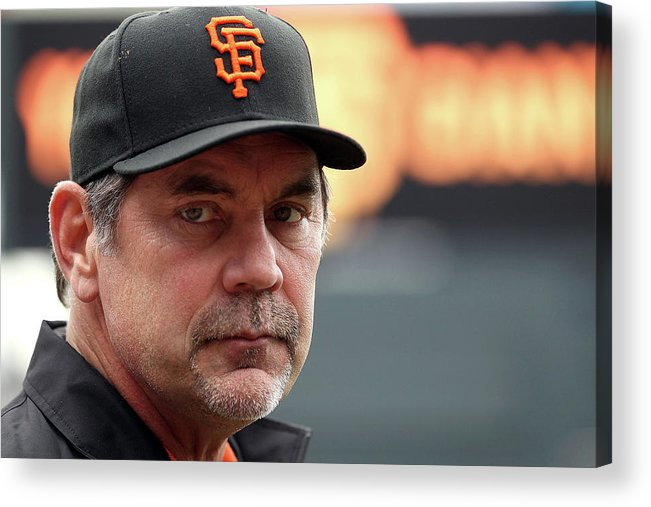 Bruce Bochy Acrylic Print featuring the photograph Bruce Look by Doug Pensinger