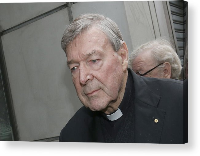 People Acrylic Print featuring the photograph Cardinal George Pell Attends Court To Face Historical Child Abuse Charges by Darrian Traynor