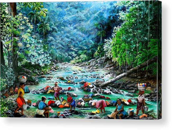 Land Scape Painting River Painting Mountain Painting Rain Forest Painting Washerwomen Painting Laundry Painting Caribbean Painting Tropical Painting Village Washer Women At A Mountain River In Trinidad And Tobago Acrylic Print featuring the painting Caribbean Wash Day by Karin Dawn Kelshall- Best
