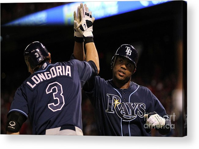 People Acrylic Print featuring the photograph Carl Crawford and Evan Longoria by Ronald Martinez