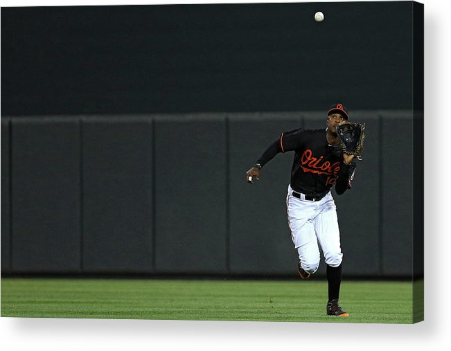 People Acrylic Print featuring the photograph Carlos Beltran and Adam Jones by Patrick Smith