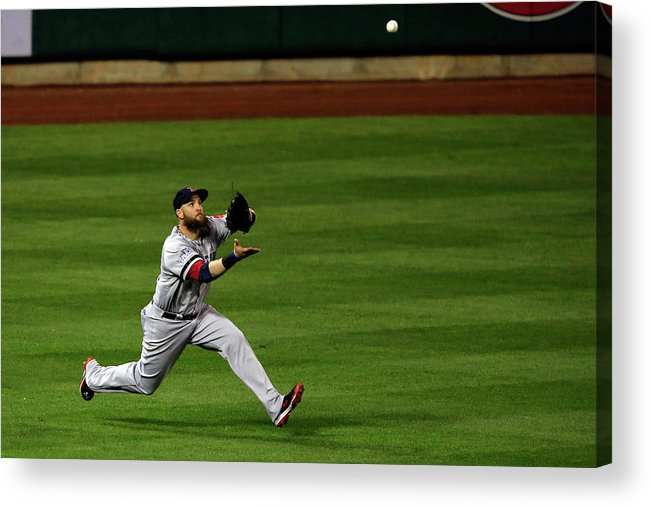American League Baseball Acrylic Print featuring the photograph Carlos Beltran And Jonny Gomes by Jamie Squire