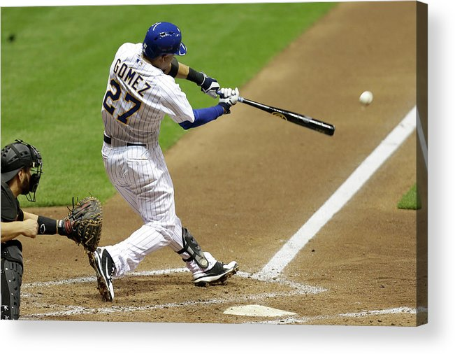Scoring Acrylic Print featuring the photograph Carlos Gomez and Rickie Weeks by Mike Mcginnis