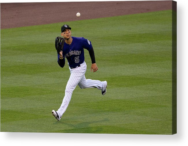 Second Inning Acrylic Print featuring the photograph Carlos Gonzalez and Conor Gillaspie by Justin Edmonds