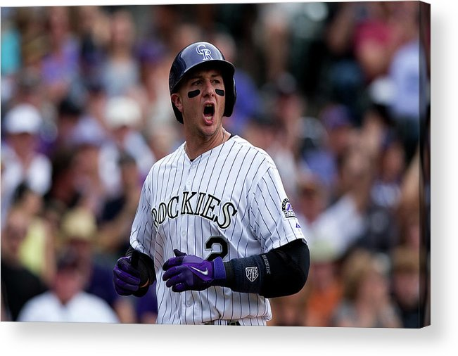 Scoring Acrylic Print featuring the photograph Carlos Gonzalez and Troy Tulowitzki by Justin Edmonds