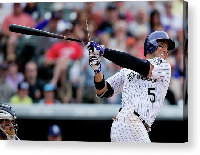 National League Baseball Acrylic Print featuring the photograph Carlos Gonzalez by Justin Edmonds