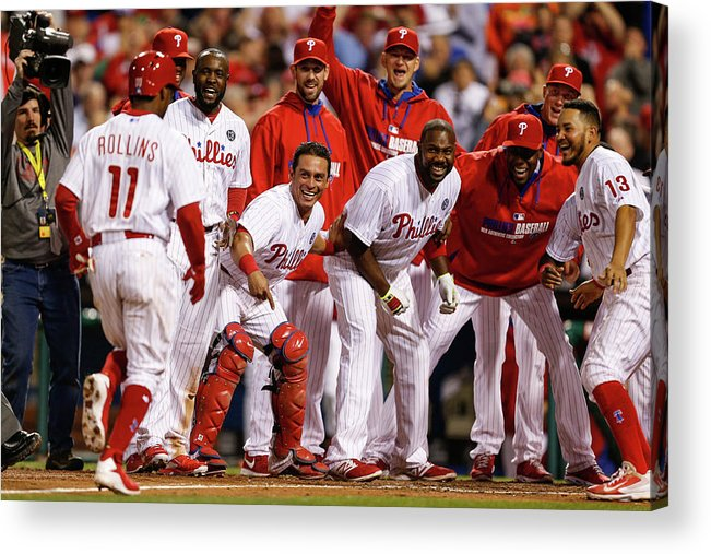 Tony Gwynn Jr. Acrylic Print featuring the photograph Carlos Ruiz, Ryan Howard, and Jimmy Rollins by Brian Garfinkel