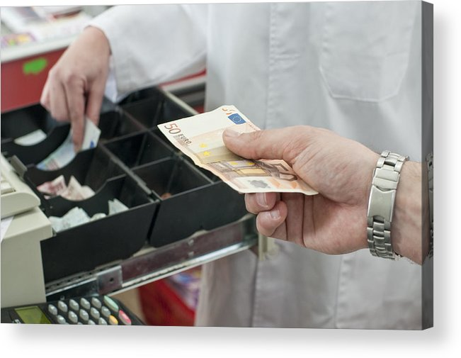 Young Men Acrylic Print featuring the photograph Cash In Hand Of Customer Paying In Supermarket by Chris Sattlberger