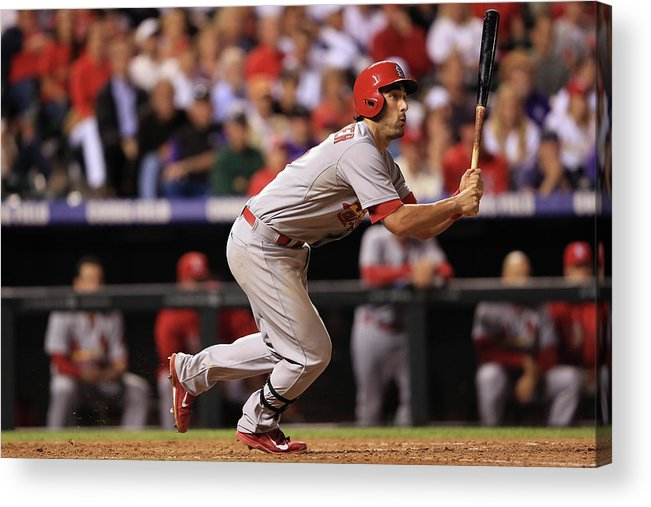 St. Louis Cardinals Acrylic Print featuring the photograph Chad Bettis, Matt Carpenter, and Pete Kozma by Doug Pensinger