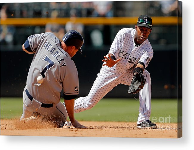 Sports Ball Acrylic Print featuring the photograph Chase Headley and Jonathan Herrera by Doug Pensinger
