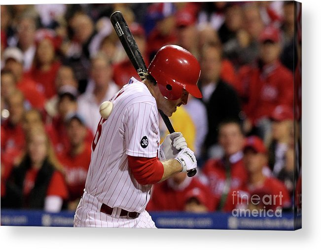 Playoffs Acrylic Print featuring the photograph Chase Utley by Al Bello