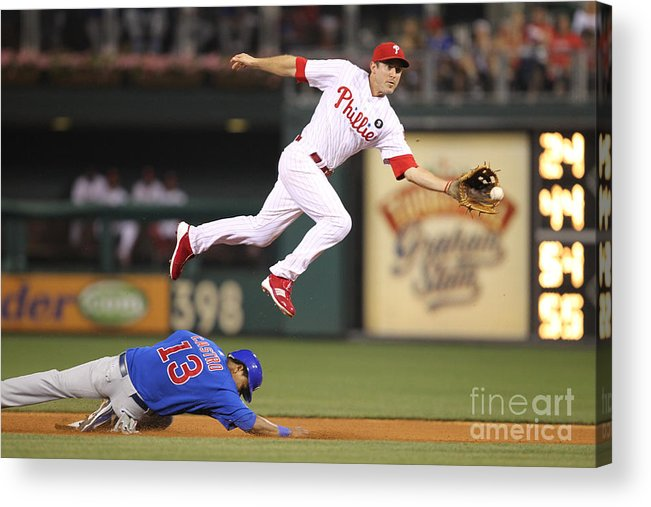 Citizens Bank Park Acrylic Print featuring the photograph Chase Utley and Starlin Castro by Hunter Martin