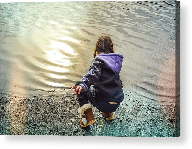 Child Acrylic Print featuring the photograph Chasing River Rainbows by Cindy Nunn