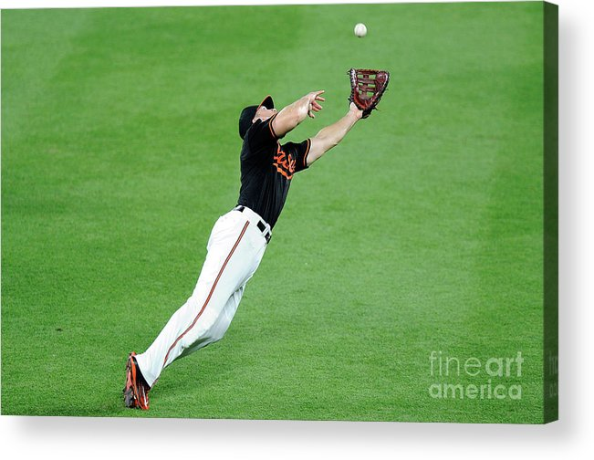 People Acrylic Print featuring the photograph Chris Davis and Carlos Beltran by Greg Fiume