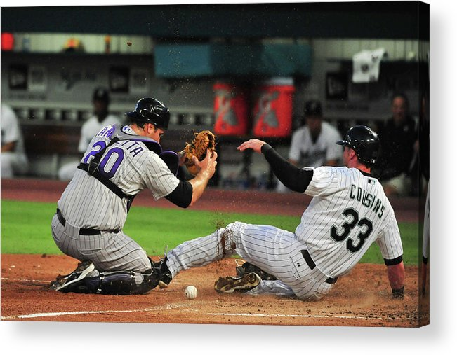 Ball Acrylic Print featuring the photograph Chris Iannetta by Ronald C. Modra/sports Imagery