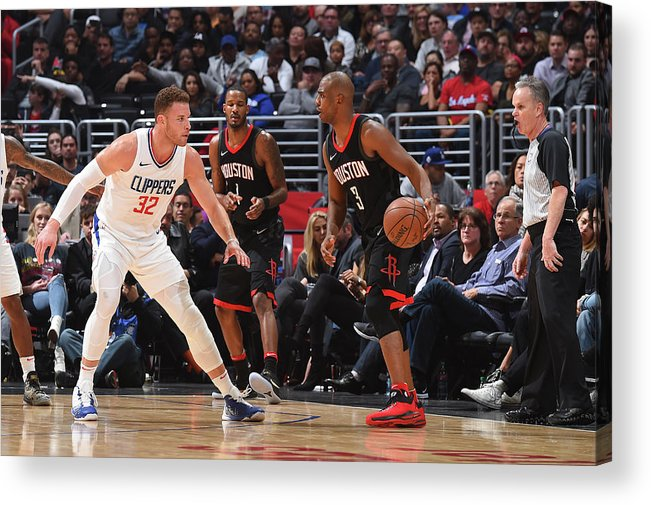 Nba Pro Basketball Acrylic Print featuring the photograph Chris Paul and Blake Griffin by Andrew D. Bernstein