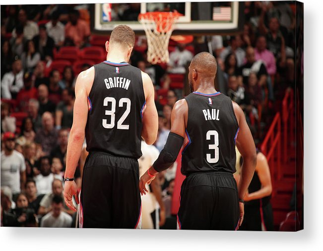 Nba Pro Basketball Acrylic Print featuring the photograph Chris Paul and Blake Griffin by Issac Baldizon