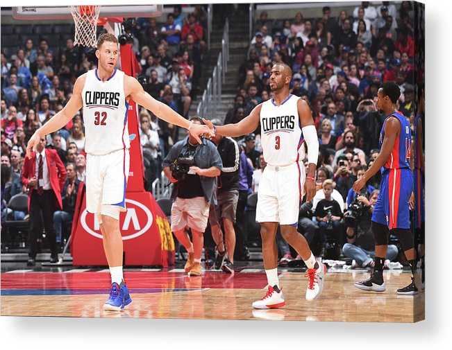Nba Pro Basketball Acrylic Print featuring the photograph Chris Paul and Blake Griffin by Juan Ocampo