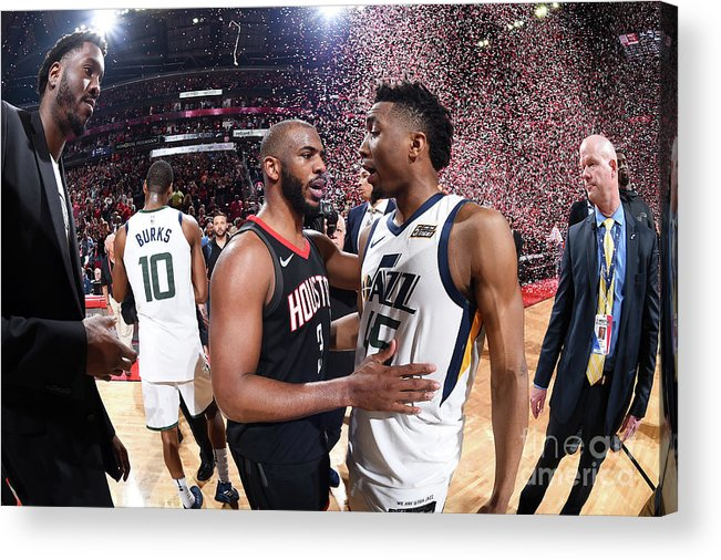 Playoffs Acrylic Print featuring the photograph Chris Paul and Donovan Mitchell by Andrew D. Bernstein
