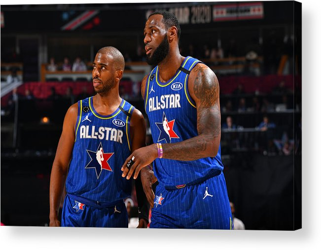 Nba Pro Basketball Acrylic Print featuring the photograph Chris Paul and Lebron James by Jesse D. Garrabrant